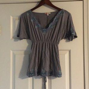 Grey boho style shirt